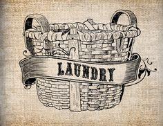 Antique Ornate Laundry Basket Label Digital Download for Papercrafts, Transfer, Pillows, etc Burlap No. 7899. $1.00, via Etsy.