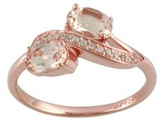 1.10ctw Oval Morganite And .09ctw Round White Zircon 18k Rose Gold Over Sterling Silver Ring