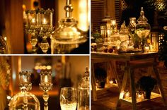 A Greek Flavored Wedding Party @ Island by De Plan V. Play with glass and light...candle warm lights & decoration details! Light Decorations, Wedding Decorations, Table Decorations, Early Fall Weddings, Candle Warmer, Green And Gold, Wedding Events, Rustic Wedding, Greek