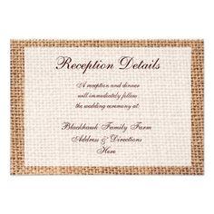 Rustic Country Burlap Wedding Reception Cards