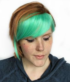 Green Clip in Bangs / Fringe: Dyed Effect // Light green blue Hair // Scene Emo Punk Rock // Extension Add On Hair Piece // Sea Lily