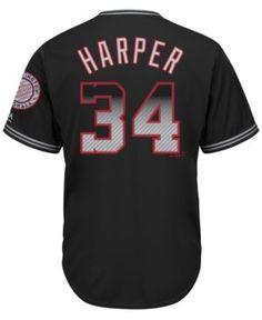 f1332c63f Majestic Men s Bryce Harper Washington Nationals Carbon Fiber Cool Base  Jersey - Black Red XXL