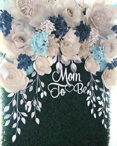 Baby shower paper flower hedge backdrop