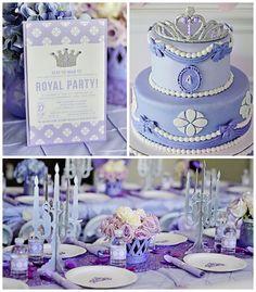 Fiesta de cumpleaños para niña de princesa en tonos lila   Ideas para Decoracion