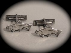 Trout Cufflinks in Recycled Silver - Personalized Mens Jewelry - Father's Day