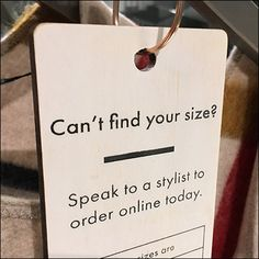 Can't Find Your Size Hang Tag at Karen Millen