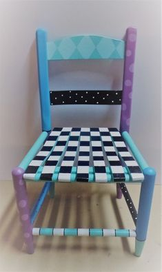 HAND PAINTED WHIMSICAL STYLE KIDS CHILD WOODEN CHAIR SIGNED WILL PERSONALIZE.
