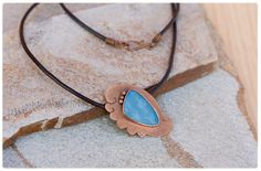 Rustic copper pendant: Unique texturized copper and blue opal necklace - metalwork pendant - chakra stone - handmade copper necklace by AnniamAeDesigns on Etsy