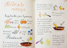 Gastro Andalusi ♥ Recetas paso a paso: Tomo 1 Pollo Chicken, Salty Foods, Food Journal, Recipe Journal, Love Eat, Food Drawing, Yum Yum Chicken, Food Illustrations, Light Recipes
