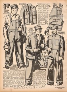 1920s mens workwear. 1927 overalls with matching jackets and coverall on the right