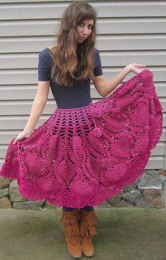 Retro crochet poncho and crochet skirt pink by LindaDiLeva on Etsy, $95.00
