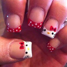 LOL! Hello Kitty nails!!