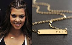 SALE 10% Gold Bar Necklace, Kim Kardashian style necklace, Nameplate bar, Monogram necklace, Name necklace, Engraved Horizontal bar pendant,