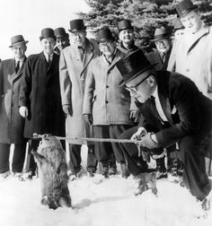 The famous rodent seer makes a prediction of more winter weather in Punxsutawney, Pennsylvania, on Groundhog Day in 1963.