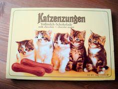 ... hab ich manchmal zum Geburtstag bekommen. Der Name ist irritierend. Zuerst wollte ich sie nicht essen, weil ich dachte, es seien richtige Katzenzungen.