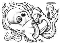 Shark Octopus Flash Designs Greywash
