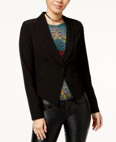 Material Girl Juniors' Lace-Up-Back Blazer, Created for Macy's - Black XXL