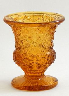 Daisy and Button Golden Glass Footed Urn Shape Toothpick / Match Holder