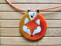 Red fox pendant, cute little fox necklace, orange jewellery, wearable art, gift for her