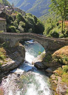''Ponte sull'Ayasse.''  Pontboset (Aosta), Valle d'Aosta, Italy.  Bridge over a creek in Italy.