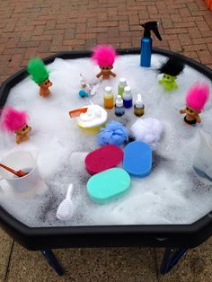 Troll Bath Time Lovely bubbly fun. We had foam shampoo and lots of lovely coloured potions! A few spray bottles, sponges, puffs etc. And just for fun, we added some strawberry scent to the water. The trolls clothes needed a wash to, so after a good scrub and swish around in the lovely bubbles, we hung the washing on our tiny troll sized line. We'll doing this one again! - Roman says tomorrow!