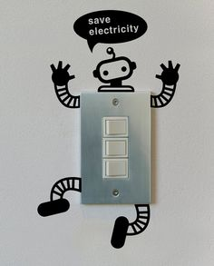 Save Electicity Robot Graphic Wall Vinyl by verryberrysticker
