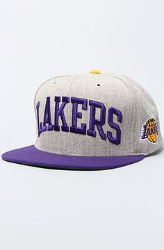 Mitchell   Ness The Los Angeles Lakers Basic Arch Snapback Hat in Gray  Purple dd15b29d8