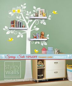 Shelf Tree Wall Decal Nursery Decal Wall Sticker Shelves Tree