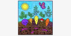 """Happy Vegetable Mural"" group art project. You can see a cutaway view of the vegetable roots and earthworms. This group project has 20 pages to color and is 40"" x 40"" completed."