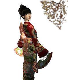 Fans with Kimono and Maple by Rena Sakai, via Flickr