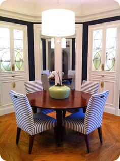 Striped Chairs + Navy Blue Walls + White Trim
