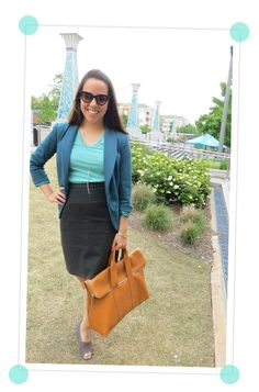 Love the color combo with the classic pencil skirt.  (I own that blazer, but it looks very different on me!) And that bag is amazing.