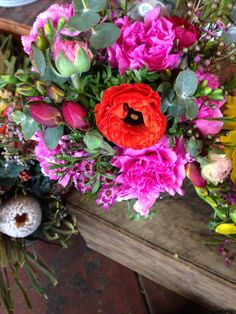 pink red and green flowers - carnations, ranunculus, freesias and gum Ranunculus, Carnations, Wedding Colors, Wedding Flowers, Green Flowers, Flower Making, Floral Wreath, Red, Pink