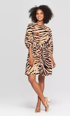 Women's Tiger Print Sleeve Crewneck Seamed A Line Mini Dress - Who What Wear Brown XS, Women's, Size: XS Gender: female. Animal Print Dresses, Fall Trends, Who What Wear, Dress Collection, Girl Fashion, Dress Fashion, Fashion Ideas, Autumn Fashion, Dresses For Work