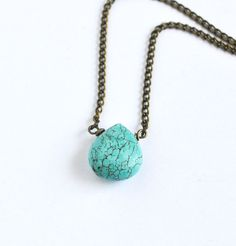 Single Turquoise Drop Stone Necklace Detailed Vein by LOVEnLAVISH, $23.00