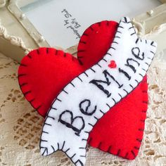 Hot Red - BE MINE - Heart Shape Handmade Felt Brooch For Your Love One