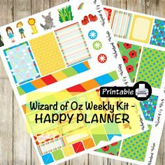 Printable HAPPY Planner Wizard of Oz Weekly Kit- Dorothy Toto Yellow Brick Road by WhimsicalWende on Etsy