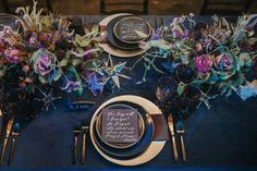 Shades of Purple, Navy & Gold Autumn Wedding Table Setting Pantone have spoken the 2018 colour of the year is Ultra Violet. Check out our shades of purple, navy & gold wedding inspiration for an opulent wedding colour scheme. Blue Wedding, Trendy Wedding, Fall Wedding, Wedding Colors, Dream Wedding, Galaxy Wedding, Moon Wedding, Crystal Wedding, Wedding Flowers
