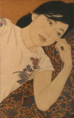 "Ikenaga Yasunari is a 1965-born Japanese artist. His paintings depict beautiful women, whose expressions and postures suggest a dreamy atmosphere.    Ikenaga's paintings also showcase exquisite textile pattern designs. His subjects are always women of modern times, but at the same time, the Nihonga painting style reflects ancient Japanese traditions, which gives his works a timeless feel. He creates his art by dropping Japanese paints into the canvas that he calls ""linen cloth"", with a Menso brush."