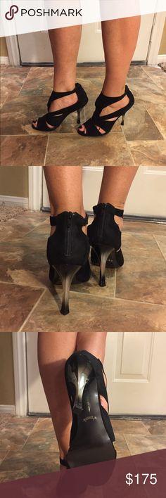 Elegant Black Sandals Black suede sandals, fancy & unique, zipper on the back.  Heel 5 inches, like new Fergie Shoes Sandals