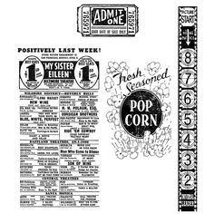 Tim Holtz Cling Mount Stamps - At The Movies CMS081