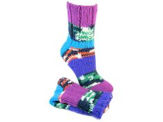 Hand Knit Chemo Socks Magenta Turquoise Purple Stripes Shoe Size US 7 thru 9  Knitted Bed Socks Sporty Golf Socks Seamless Socks PERU #288 by SlicKnitsSocks on Etsy https://www.etsy.com/ca/listing/475617085/hand-knit-chemo-socks-magenta-turquoise