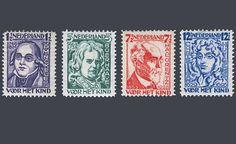 """De kinderpostzegels uit 1928 met het thema """"Nederlandse geleerden"""". Ontwerp: J. Sluyters"""