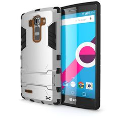 LG G4 Case, Ghostek Armadillo 2.0 Silver LG G4 Case w/ LG G4 Tempered Glass Screen Protector - Slim Armor 4 Layer Case Kickstand for LG G4 GHOCAS316