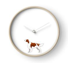 Irish Red and White Setter Dog Breed Illustration Silhouette • Also buy this artwork on stickers, apparel, phone cases, and more. Clock
