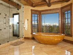 A mountain bathroom fit for a king and queen.