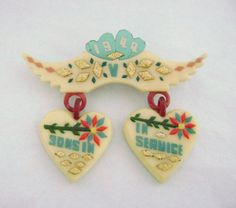 """Vintage WWII Era Sweetheart """"Sons in Service"""" Celluloid Pin."""