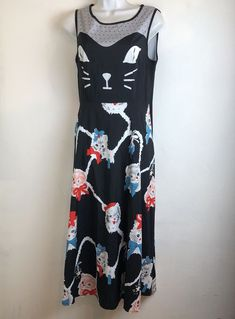 1b31f7108d womens playful kitten cat print maxi dress size L