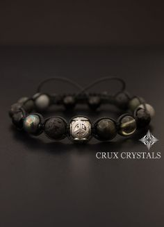 Peace Love Men's Natural Stone Shamballa Bracelet by CruxCrystals