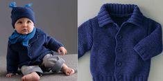 Tricot gratuit : le gilet layette boutonné : Femme Actuelle Le MAG Point Mousse, Rico Design, Couture, Turtle Neck, Sweaters, Baby, Crochet, Salad, Fashion